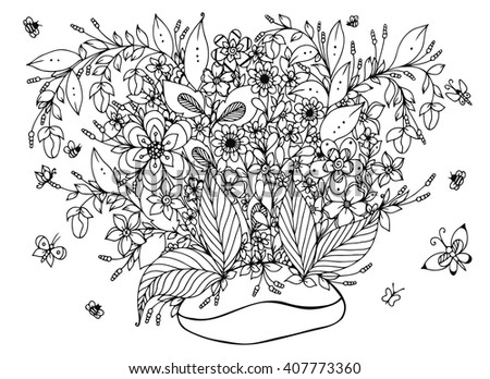 Vector Illustration Zentangl Coffee Beans With Flowers Doodle Art Butterfly Garden Nature
