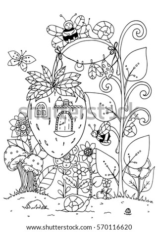 Doodle House Of Strawberries And A Bee Coloring Page Anti Stress
