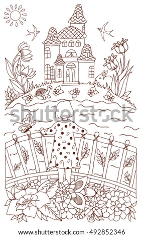 Vector Illustration Zentangl Girl On A Bridge Looking At The Castle Across River Coloring
