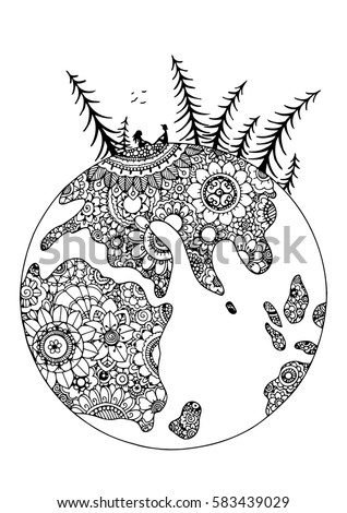 earth flower coloring pages   Vector Illustration Zentangl Globe Flowers Pair Stock ...