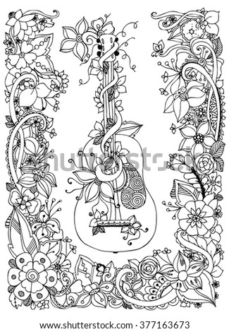 Vector Illustration Zentangl Guitar Flowers Frame Stock Vector