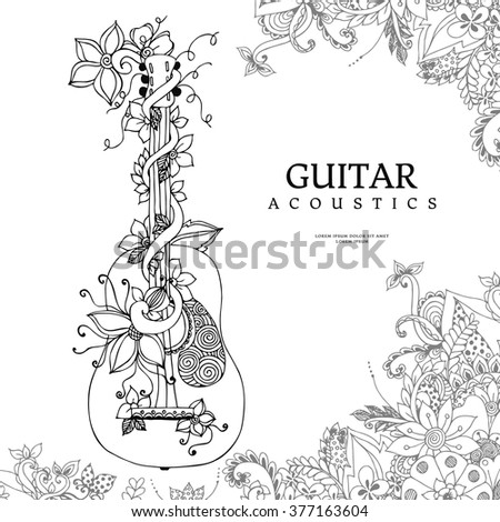 Vector illustration zentangl guitar with flowers in a frame of flowers, acoustics, strings, flowers, doodle, zenart. Adult coloring books. - stock vector