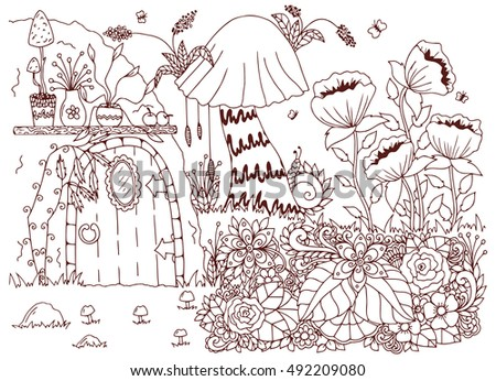 Vector Illustration Zentangl House Woods Flowers Stock