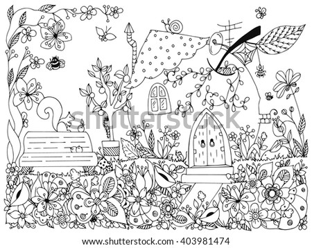 Vector illustration zentangl park, garden: a bench, a tree with apples, flowers, doodle, dudling. Coloring anti stress for adults. Black and white.   - stock vector