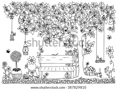 Vector illustration zentangl park, garden,  spring: a bench, a tree with apples, flowers,  swing, doodle, zenart, dudling. Coloring anti stress for adults. Black and white.  Adult coloring books. - stock vector
