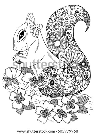 Squirrel Coloring Pages Stock Images Royalty Free Images