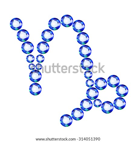 Vector illustration: Zodiac symbol Capricorn made of light blue crystals  isolated on white background - stock vector