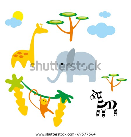 Vector illustration. Zoo. Africa animals. - stock vector