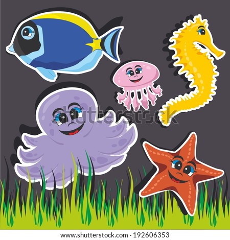 Vector illustrationf of a cartoon stickers of marine animals - marine animals