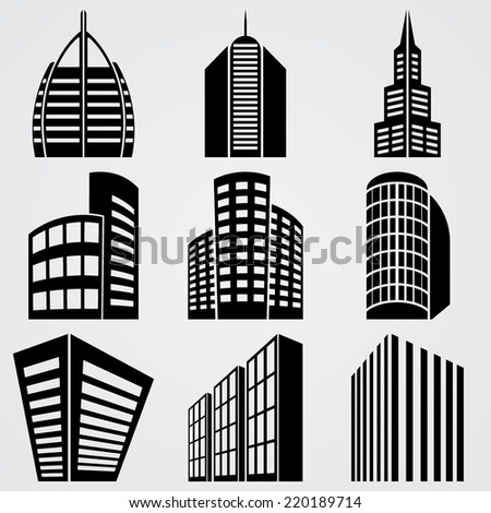 Vector illustrations Buildings icons 3d isolated on white background - stock vector