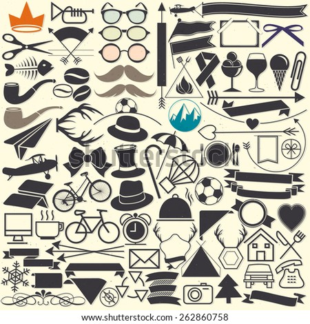 Vector illustrations. Hipster style. Object collection for all design. Minimal symbols for everyday objects. Pictogram and icons collection. Vintage style objects silhouettes. - stock vector