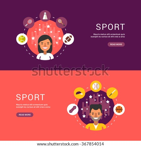 Vector Illustrations in Flat Design Style. Sport Icons and Sportsman Cartoon Character in Circle. Summer Sports - stock vector