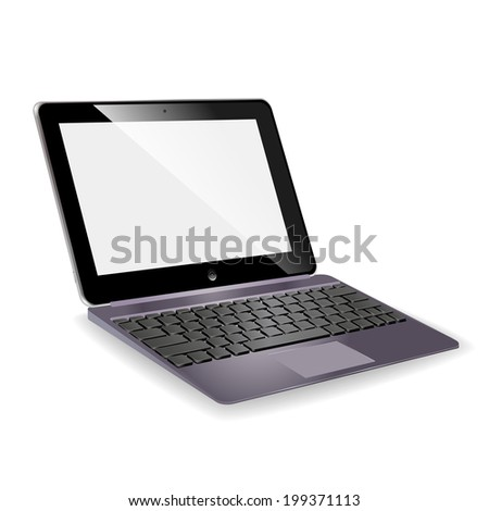 vector illustrations in turn laptop on white background