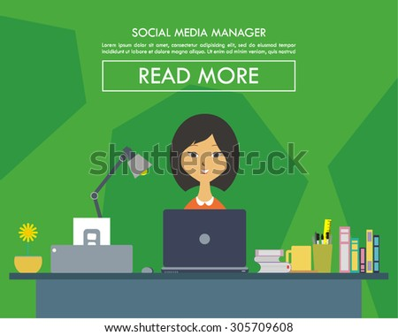 vector illustrations of a creative person working as a social media managers on her desk with a computers. perfect for website image design elements or magazine, newsletter, or any other publications - stock vector