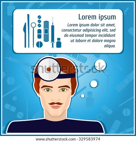 Vector illustrations of a doctor. Doctor. The man's face. Icon. Flat icon. Minimalism. The stylized Man. Occupation. Job. Uniforms, cap. Medical instruments, scalpel, syringe. The dark-haired man. - stock vector