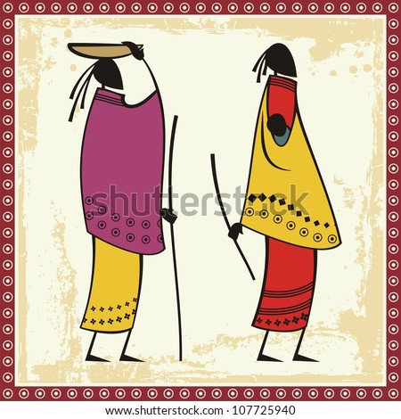 Vector illustrations of African Masai women in traditional clothing. - stock vector