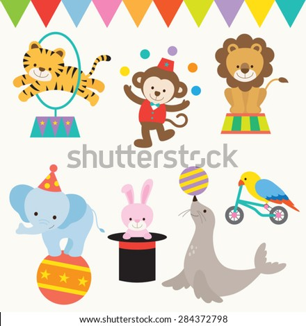 Vector Illustrations of animals perform in circus. - stock vector