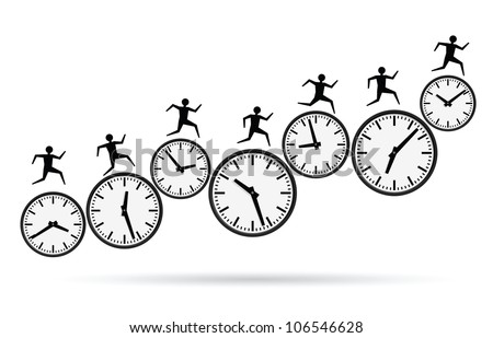vector illustrations of busy concepts, running out of time. - stock vector