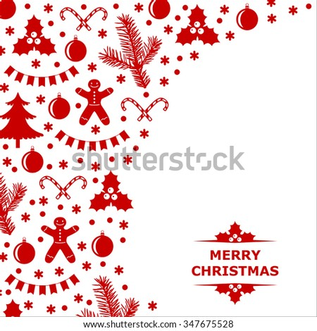 Vector illustrations of card decorated with Christmas baubles
