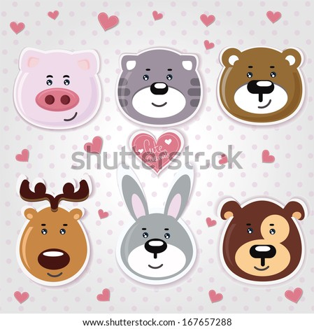 Vector illustrations of cartoon animals on the background - stock vector