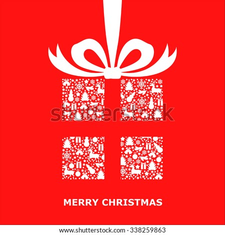 Vector illustrations of Christmas card with patterned gift decorated bow