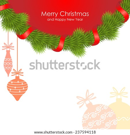 Vector illustrations of  Christmas congratulatory background of fir garland decorated with red ribbon and gentle baubles