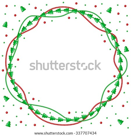 Vector illustrations of Christmas congratulatory round frame with garlands of green fir and beads - stock vector
