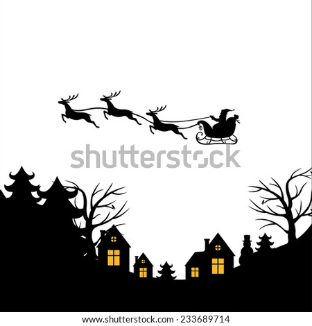 Vector illustrations of Christmas greeting with Santa on a reindeer sleigh flies above the ground, home, trees - stock vector
