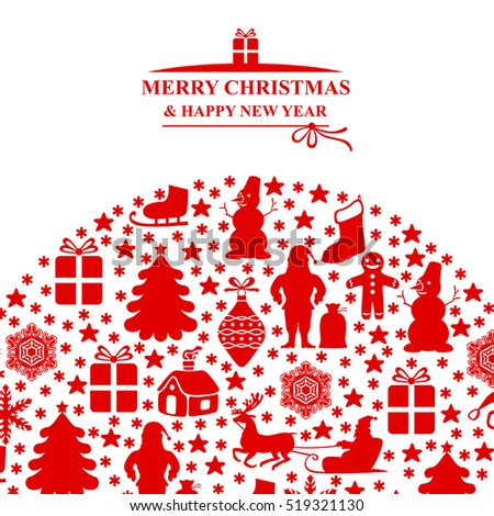 Vector illustrations of Christmas red card isolated on white background