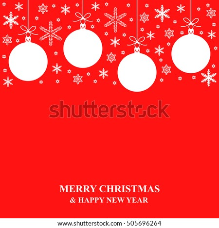 Vector illustrations of Christmas snowflakes and ball card on red background