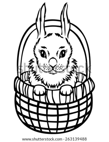 Vector illustrations of contour little Easter rabbit in basket