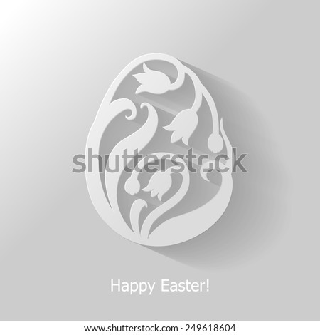 Vector illustrations of decorative floral Easter egg flat icon on gray background - stock vector