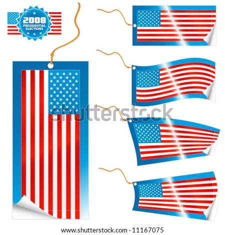 Vector illustrations of detailed American flag tags (retail or info) in different shapes (simple, waves, badges) and an universal glossy USA icon. Election theme.