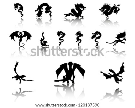Vector Illustrations of Dragons - stock vector