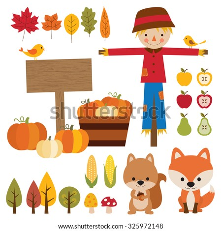 Vector illustrations of fall graphic elements. - stock vector