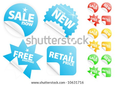 Vector illustrations of four different modern glossy shiny icons/stickers or tags on selling/retail theme. Four different colors. Customizable. - stock vector