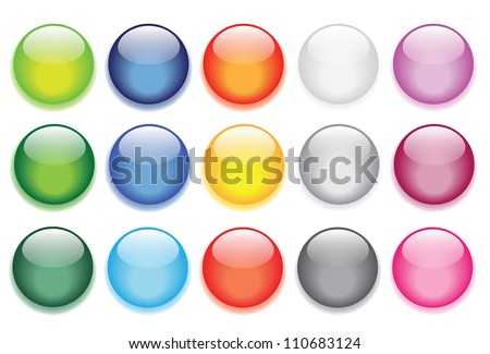 vector illustrations of glossy glass buttons for icons. - stock vector