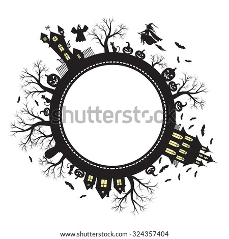 Vector illustrations of Halloween greeting planet - stock vector