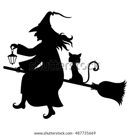 Vector Illustrations Of Halloween Silhouette Witch And Cat Flying On Broomstick