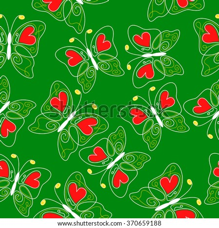 Vector illustrations of hearts butterflies pattern seamless on green background
