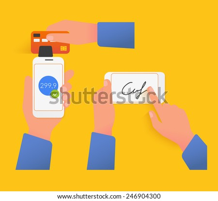 Vector illustrations of mobile acquiring with signature via smartphone - stock vector