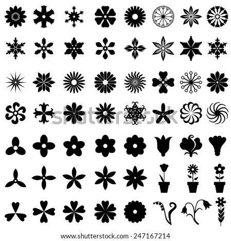 Vector illustrations of set of 64 flowers icons - stock vector