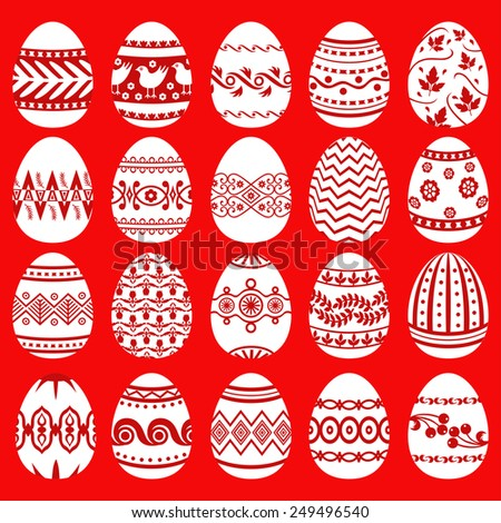 Vector illustrations of set patterned Easter eggs on red background - stock vector