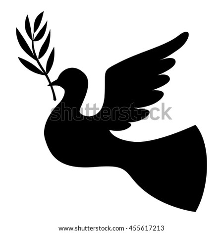 Vector illustrations of silhouette dove with a palm branch