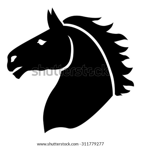 vector illustrations of silhouette horses head in profile