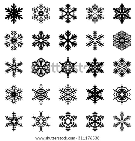 Vector illustrations of snowflakes set - stock vector