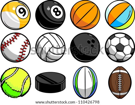 Vector Illustrations of Sport Balls - Baseball, Basketball, tennis, rugby and Billiards - stock vector