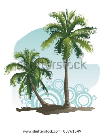 Vector illustrations of two palm tree - stock vector