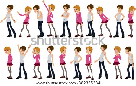 Vector illustrations of various children in different poses and moods. - stock vector