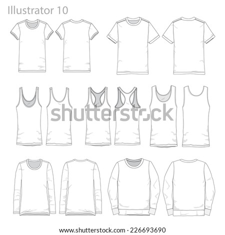 Vector Illustrations of various clothing garments. - stock vector